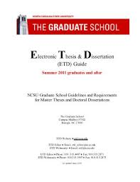 Electronic Thesis  amp  Dissertation  ETD  Guide   North Carolina State