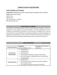 Resume Format Mba 1 Year Experience 1 Year Experiances Resume Of