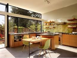 Kitchen Eat In Kitchen Design Features Wood Laminated Kitchen Cabinet With  Small Tiered Island Breakfast Bar