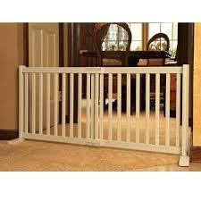 wood free standing white pet gate freestanding with door slide dog warm