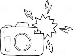 白黒イラストが点滅カメラ いたずら書きのベクターアート素材や画像を