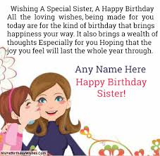 Beautiful Birthday Wishes For Sister With Name Photo