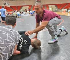 Frayer Wrestling Olympian Vt Assistant Coach Frayer Leads Fca Wrestling Clinic At