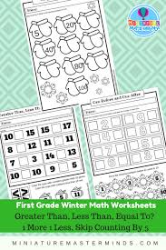 3 First Grade Winter Math Worksheets Greater Than, Less Than, or ...
