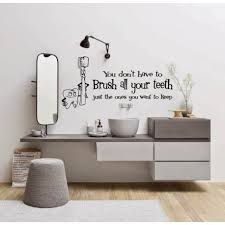 on removable wall art stickers uk with brush your teeth bathroom funny wall art sticker