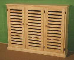 Varnished Oak Wood Shoe Storage Cabinet With Louvers Doors, Delightful Shoe  Storage Cabinet With Doors