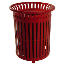 red steel outdoor trash can with steel lid and plastic liner