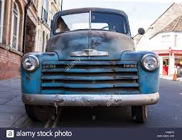 Front View of a Blue 1950 Chevrolet Pickup Truck Stock Photo ...
