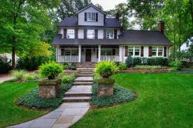 Best Ideas Present Front Yard Landscape Identical Urns With Fern Plants  Feat Green Lawn And Stone