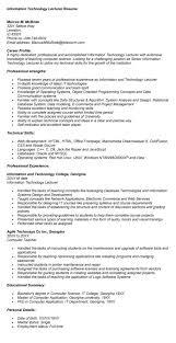 professor - Lecturer Resume Objective