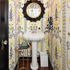 yellow and gray contemporary powder room