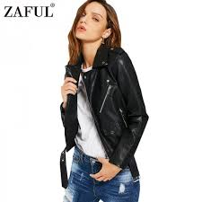 faux leather jackets women zipper pockets belted soft motorcycle jacket y punk coat las casual outwear