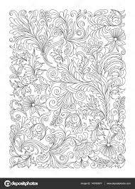 Doodle Floreali In Bianco E Nero Pagina Per Libro Da Colorare