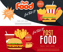 Fast Food Coupon Templates Horizontal Modern Design Free