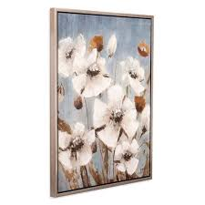 30 x38 white poppy field floral framed canvas art silver patton wall decor target on framed canvas wall art target with 30 x38 white poppy field floral framed canvas art silver patton