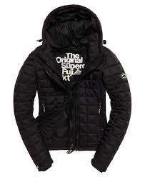 womens superdry hooded box quilt fuji jacket black superdry jackets uk superdry jackets