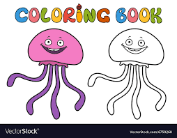 jellyfish coloring book vector image