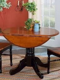 british isles 42 oak black round double drop leaf dining room set