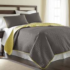 Purple Quilts & Coverlets For Less | Overstock.com & Amraupur Overseas Leaf Solid Reversible Quilted 3-piece Coverlet Set Adamdwight.com
