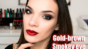 makeup tutorial clic brown gold smokey eye with red lips you