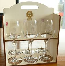 asterite oval single bowl kitchen sink wine glass set of  laser engraved in timber carry and store box timber