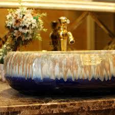 oval vessel sink designed porcelain dark blue enamelling