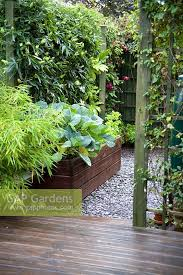 raised vegetable beds and water screened from patio area with bamboo and trellis