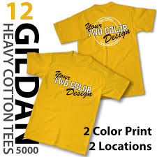 Details About 12 Custom T Shirts 2 Color Screen Print Front And Back Gildan Heavy Cotton