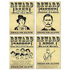 Western Wanted Posters Decorating X4 Amazon Co Uk Toys