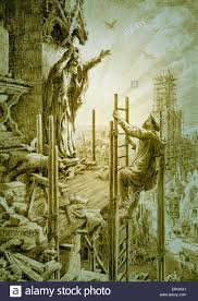 scaffold builder stock photos scaffold builder stock images alamy ww1 an allegory in which a builder climbs a scaffold to repair a cathedral