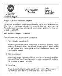 Work Instructions Examples Working Instruction Template 6 Free Word Pdf Document