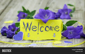 Welcome Purple Welcome Note Card On Image Photo Free Trial Bigstock