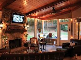 cool screen porch ideas bing images screened porch patio faux beams stone fireplaceantle