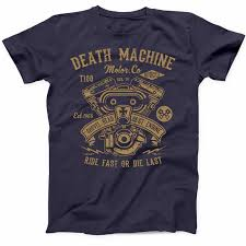 Band Tee Designs Us 12 34 5 Off Cool T Shirts Designs Best Selling Men Death Machine Motorcycle T Shirt Shovel Head Engine Funny Biker S Classic Tee T Shirt In