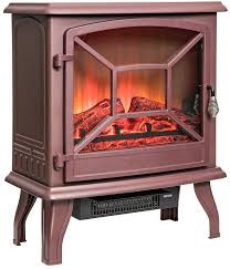 20 brown freestanding portable electric fireplace firebox heater flames w logs for