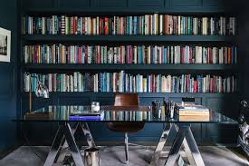 atherton library traditional home office. This Beverly Hills Home By Maine Design Has A Office/library That I Would Kill For. Look At Delicious Inky Blue But Also The Uncluttered Clean Atherton Library Traditional Office E