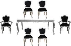Casa Padrino Luxus Barock Esszimmer Set Schwarz Silber 1