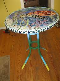 Stained Glass Coffee Table Side View Of My Stained Glass Mosaic Table My Stained Glass