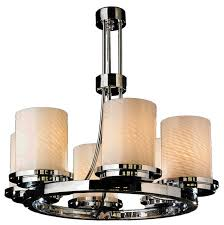 contemporary 6 light chrome frosted white pillar candle glass chandelier