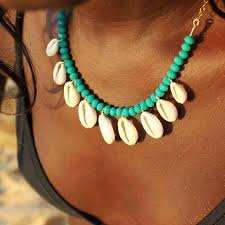 whole artilady cowrie shell pendant necklace green white beads statement necklace for women summer jewelry mens gold chains necklace charms from
