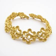 Design With Broken Bangles Vintage Trifari Classic Gold Tone Bracelet Mid Century Link Style Abstract Design