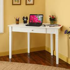 ... Small Desk For Room Corner Placement White Elegance Center Drawers  Collection Stained Handle ...