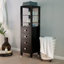 cabinets with drawers and shelves. tall wood bathroom storage cabinet with top glass shelves above drawer and painted dark brown color ideas cabinets drawers