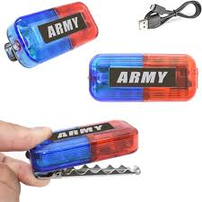 Military Strobe Light Christmas Army Costume Toys Lights Ultra Bright Blue Red Light Military General Role Play Dress Up Accessories For Kids Boy Men Women Adults