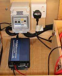 deep red a self build motorhome electrics 230 volt mains consumer unit single mains socket outlet and sterling mains charger