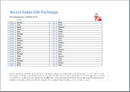 Santa List Template Secret Santa Gift Exchange Template Word Excel Templates