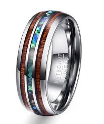 Tungsten Carbide Ring Size Chart Hawaiian Koa Wood And Abalone Shell Tungsten Carbide Ring 8mm