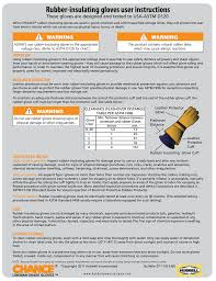 Astm Glove Chart Rubber Insulating Gloves User Instructions