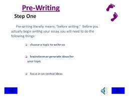 research the writing process steps in writing an essay ppt  pre writing step one pre writing literally means before writing before