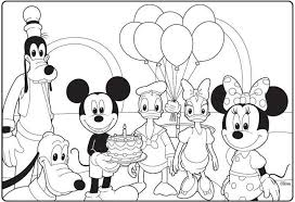 Mickey Mouse Clubhouse Birthday Coloring Page Kleurplaat Disney